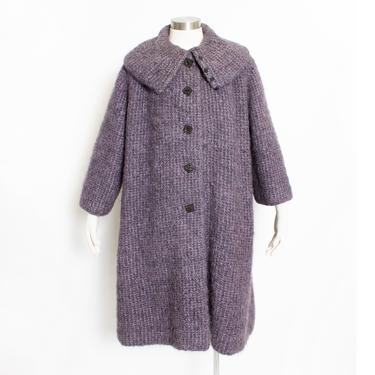 1980s Oversized Sweater Wool Mohair Knit Cardigan Coat L by dejavintageboutique