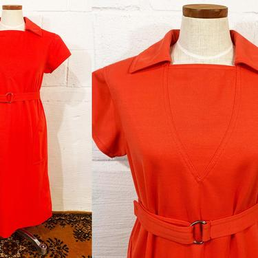 Vintage 1960s Dress Mod 60s Dress Kimberly Coral Peach Knit Shift Belted Pockets Twiggy Short Sleeve Modern Size Large by CheckEngineVintage