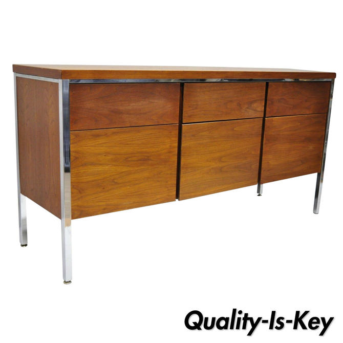Vtg Stow Davis Mid Century Modern Walnut & Chrome Florence Knoll Style Credenza