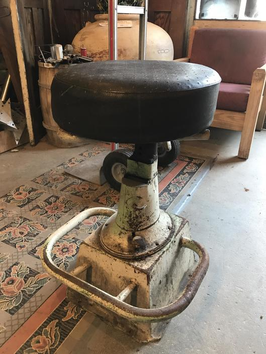 "Large industrial stool with steel base 29"" tall"