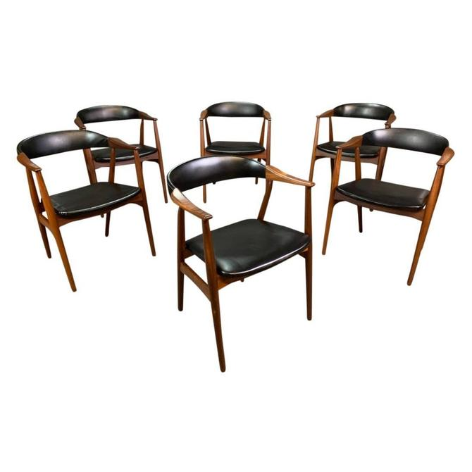 Set of Six Vintage Mid Century Danish Modern Afromasia Teak Dining Chairs Model 213 by Th. Harlev for Farstrup Mobler by AymerickModern