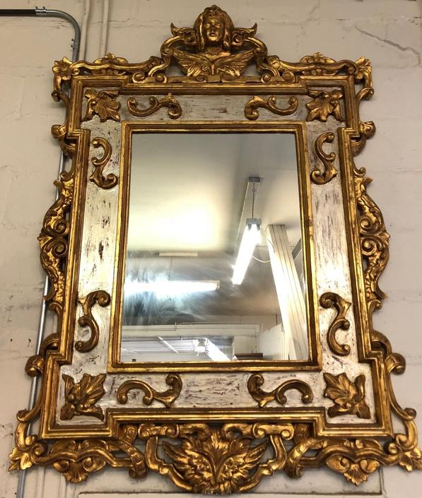 Arte de Mexico Carved Giltwood Hanging Wall Mirror | Classical Motif
