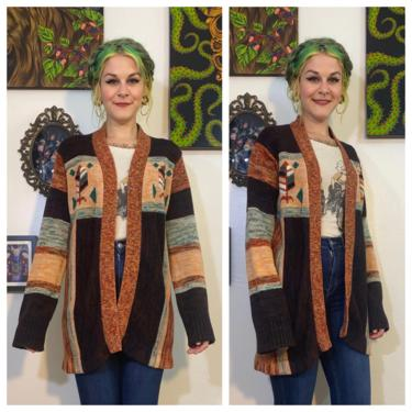 Vintage 1970's Brown And Teal Space Dyed Cardigan by SurrealistVintage