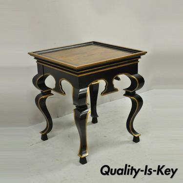 Vintage Black and Gold Italian Regency Style Burl Wood Low Side Table Drexel