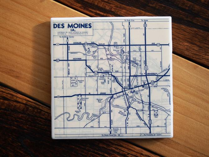1953 Des Moines Iowa Handmade Repurposed Vintage Map Coaster - Ceramic Tile - Repurposed 1950s Rand McNally Atlas - Actual Map Used by allmappedout