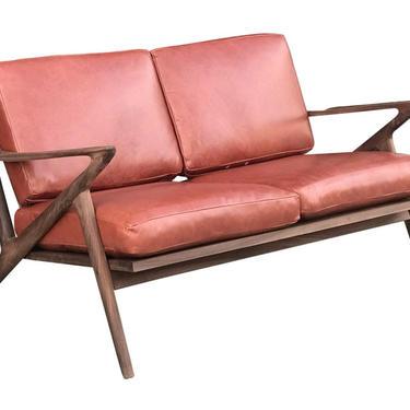 Custom Z Loveseat in Terracotta Leather by VintageOnPoint