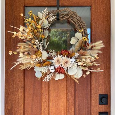 Earthy Tones Neutral Fall Wreath, Boho Fall Grasses Wreath, Neutral Wheat Wreath, Neutral Fall Decor, Terracotta Neutral Wreath, Fall Wreath by NovaWreaths