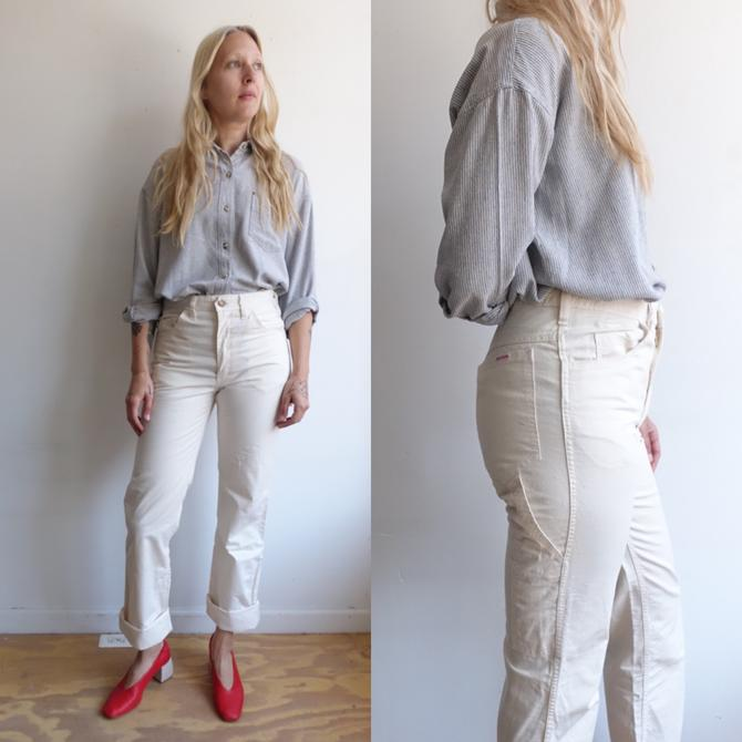 Vintage 70s Ivory Carpenter Pants/ 1970s High Waisted White Straight Leg Painter Pants/Canvas Workwear/ Becker/ Size 30 by bottleofbread
