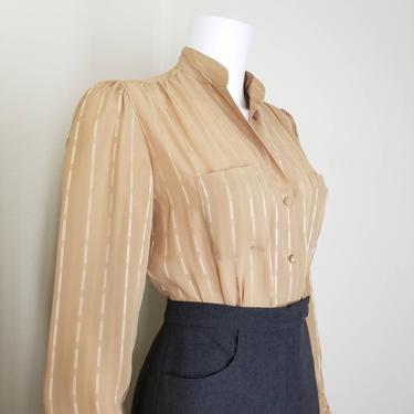Vintage Tan Chiffon Blouse, Medium / Striped Button Blouse / Semi Sheer Short Sleeve Office Blouse / 80s Neutral Beige Button Up Dress Shirt by SoughtClothier