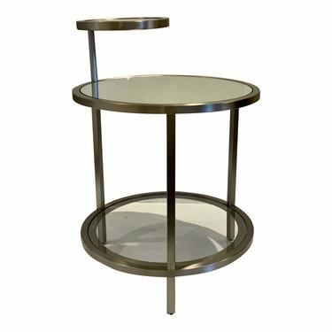 Caracole Modern Satin Nickel Glass and Mirror Over Sight End Table