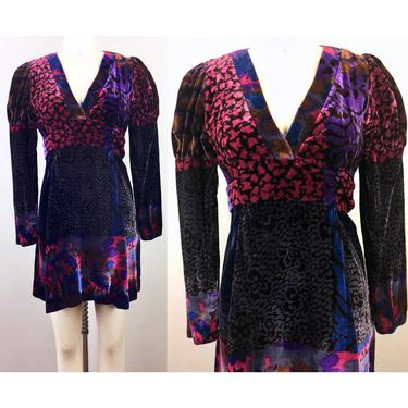Vintage 70s Mix Print VELVET Mini Dress 1970s Patchwork Boho Hippie Victorian Puff Sleeve XS by FlashbackATX