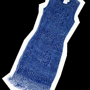 Christian Dior S/S 2000 blue shredded knit dress