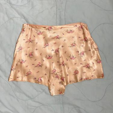 Vintage 1940s Tap Pants 40s High Waisted Panties Floral Satin by littlestarsvintage