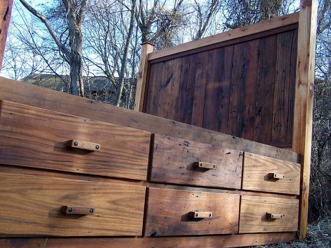 12 Drawer Rustic Reclaimed Wood Platform Storage Bed By Barnwoodfurniture