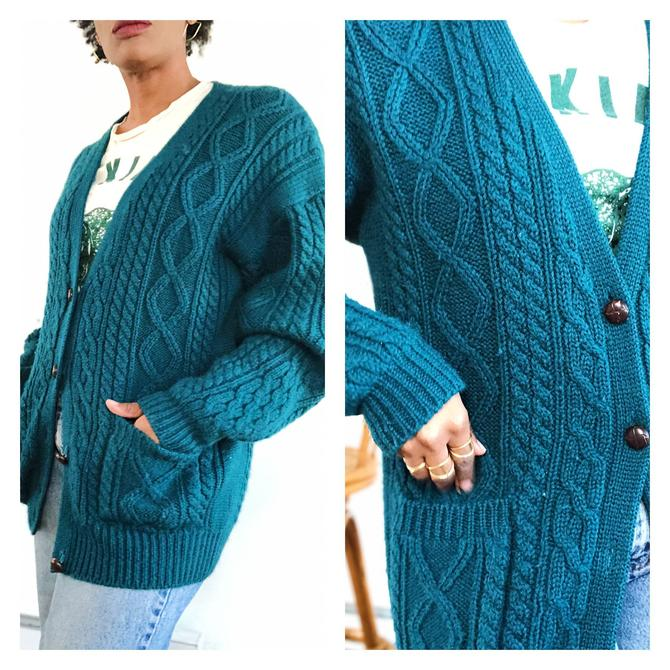 Vintage 1980s 1990s 90s Wool Cable Knit Cardigan Sweater Jumper Long Duster Jacket Hunter Green Wooden Button Up Front by KeepersVintage