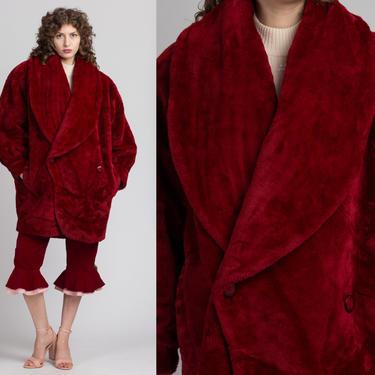 Vintage Gigi Parole Paris Red Plush Coat - Extra Large | 80s Faux Fur Double Breasted Button Up Winter Jacket by FlyingAppleVintage