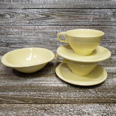 Vintage Boontonware Dishes, Lemon Yellow Dinnerware, Plastic Melamine Melmac Dish Set, 1950's Retro Kitchen Decor, Vintage Kitchen by AGoGoVintage