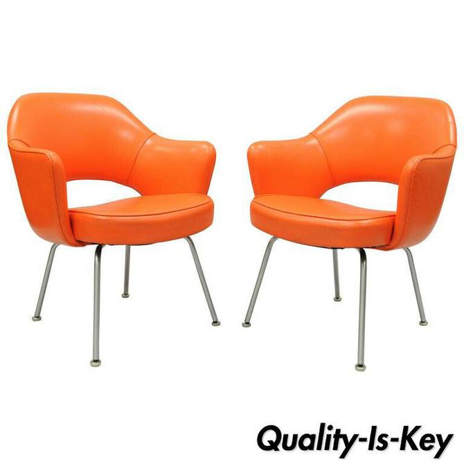 Pair of Eero Saarinen for Knoll Executive Arm Chairs Early Original Orange Vinyl