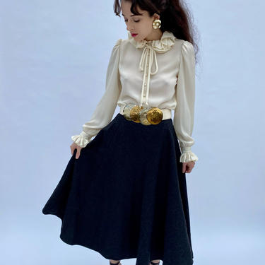 "Vintage 70s Valentino Wool Full circle High waist Gray Flared Midi skirt XS S Waist 25""-26"" by prismavintageatx"