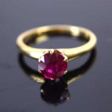 Antique Estate 14k Solid Gold Ring w Synthetic Ruby Solitaire by PrairielandArt
