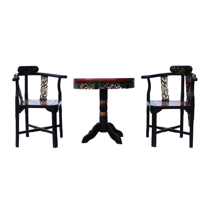 Chinese Handmade Lacquer Dragon Graphic Corner Armchair Table 3 Pieces Set cs5411S