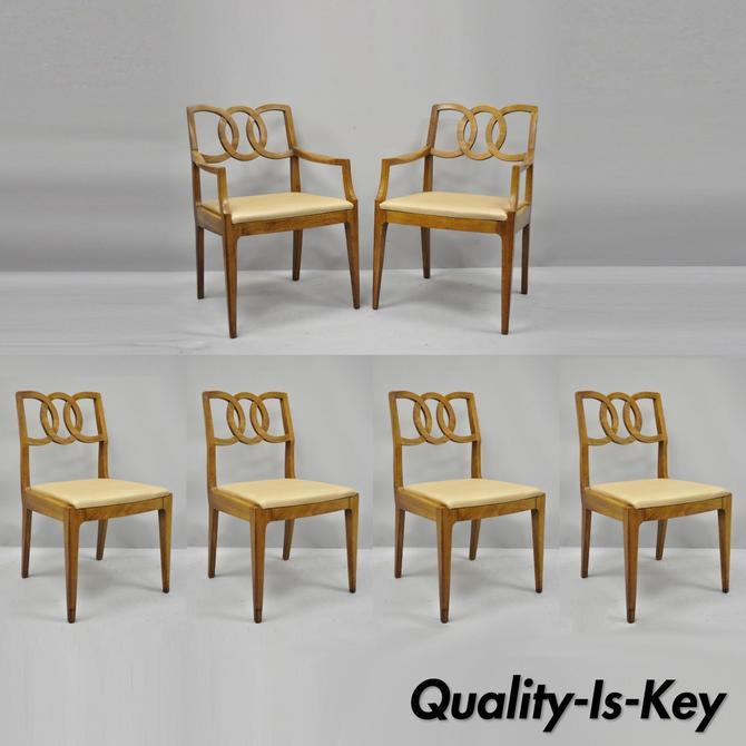 6 John Stuart Walnut Mid Century Modern Interlocking Pretzel Back Dining Chairs