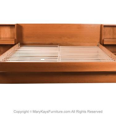 Danish Modern Teak King Platform Bed with Nightstands by Marykaysfurniture