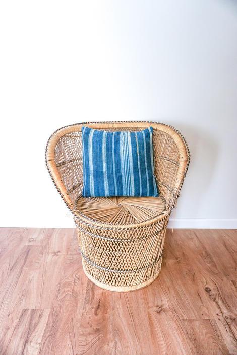 Short Vintage Bohemian Peacock Woven Barrel Chair by PortlandRevibe