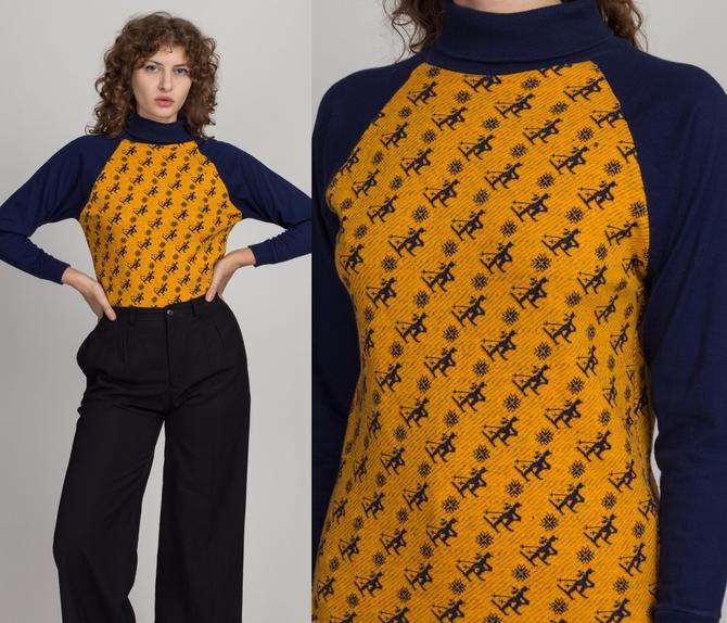70s 80s Novelty Repeat Ski Pattern Shirt - Medium   Vintage Navy Blue & Yellow Turtleneck Lightweight Winter Pullover by FlyingAppleVintage
