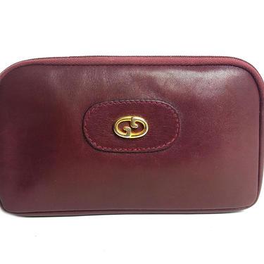 MINT! GUCCI Burgundy Leather GG Emblem Clutch Zip Pouch Wallet Bag by TradingTraveler