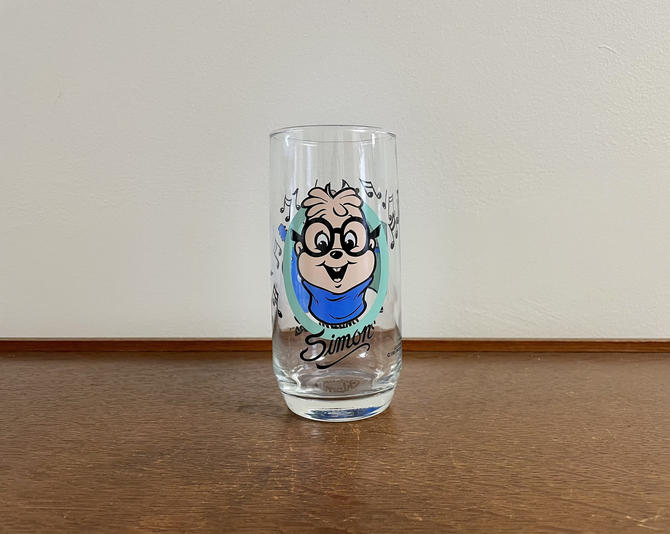 """Vintage Libbey """"The Chipmucks"""" Collectable Water Glass, 1985, """"Simon"""" Cartoon Classics by BlackcurrantPreserve"""