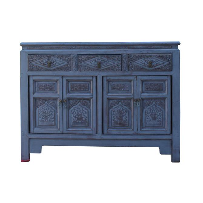 Chinese Distressed Gray Floral Motif Sideboard Console Table Cabinet cs5768S