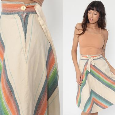 70s Skirt CHEVRON Stripe Skirt 1970s Beige Retro Hippie Midi Skirt Vintage High Waist Boho Ethnic Bohemian Knee Length Extra Small xs by ShopExile