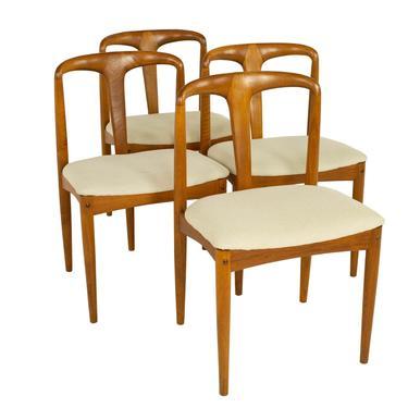 Johannes Andersen Juliane Style D-Scan Mid Century Teak Dining Chairs - Set of 4 - mcm by ModernHill
