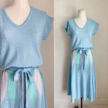 Vintage 1980s Color Block Sweater Dress / M by MsTips