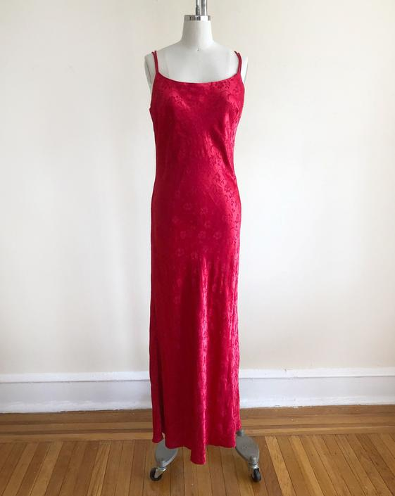 Red Satin Damask Maxi Slip Dress with Strappy Back- 1990s by LogansClothing