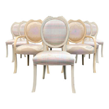 Vintage Art Deco Inspired French Dining Chairs - Set of 8 by BostonVintageStudio