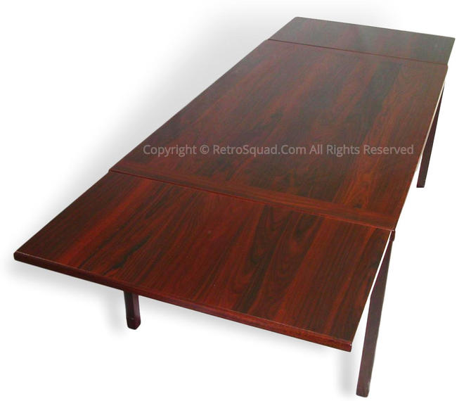 """Brazilian Rosewood Pull Leaf Dining Table From Denmark 65"""" to 107"""", Text / Call Offers 571 330 0810, MCM Eames Knoll Mid Century Modern, by RetroSquad"""