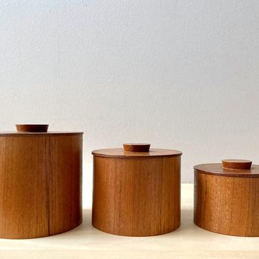 set teak nesting boxes bentwood canisters - midcentury danish modern by ionesAttic
