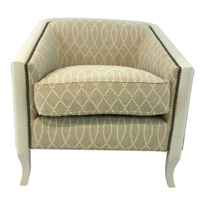 Modern Drexel Heritage Gold and Cream Bria Lounge Chair
