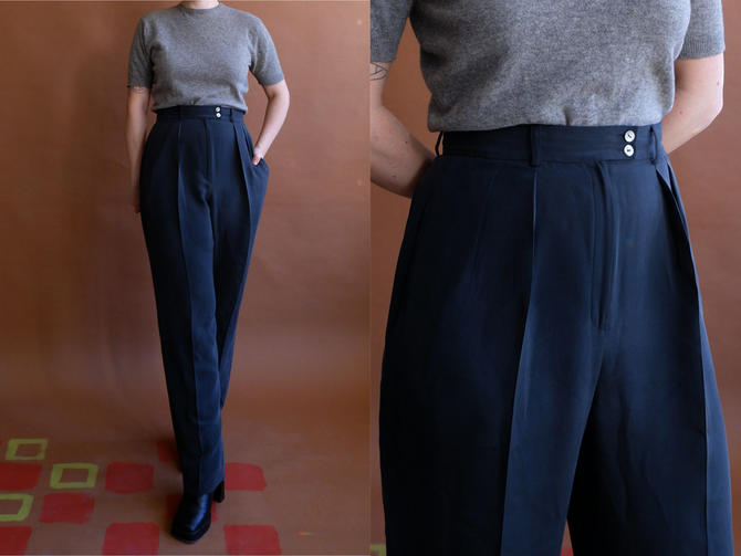 Vintage Charcoal Silk Trousers/ 1990s High Waisted Pleated Dark Grey Pants/ Size 28 Medium by bottleofbread