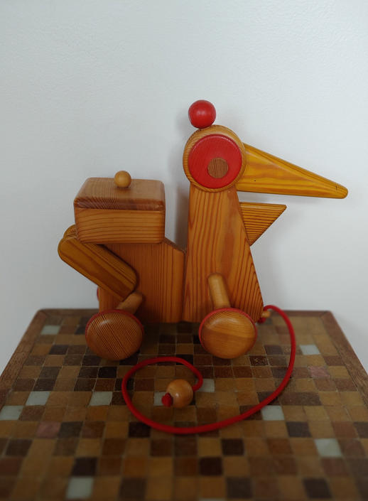 Vintage Wood Pull Toy Bird From Czech Republic by Tede by ModandOzzie