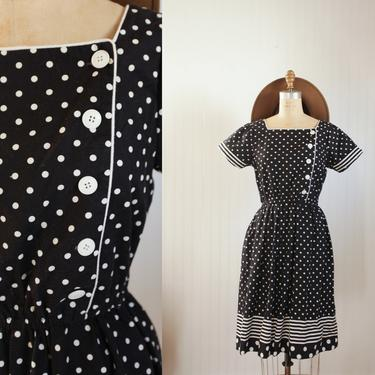 80s cotton polka dot day dress - size medium by foganddriftwood