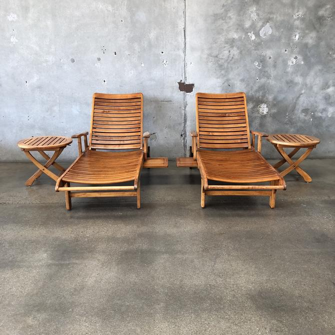 2 Reclining Teak Lounge Chairs & 2 Side tables