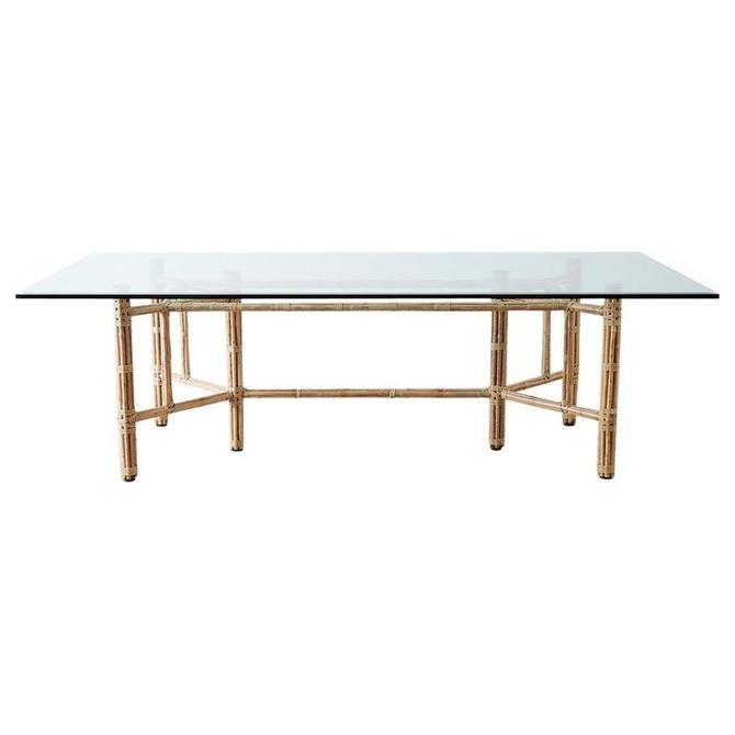 Mcguire Organic Modern Blonde Bamboo Rattan Dining Table by ErinLaneEstate