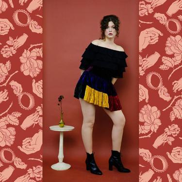 vintage 1980s Betsey Johnson punk label crushed velvet colorblock mini skirt by FlowerInTheMirror