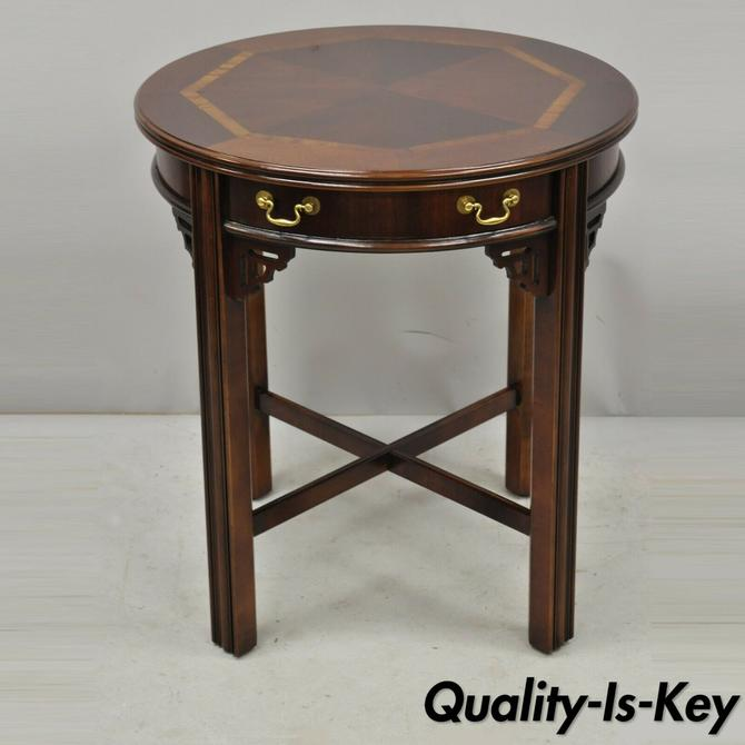 Lane Mahogany Chinese Chippendale Round Lamp Accent Side Table with Drawer