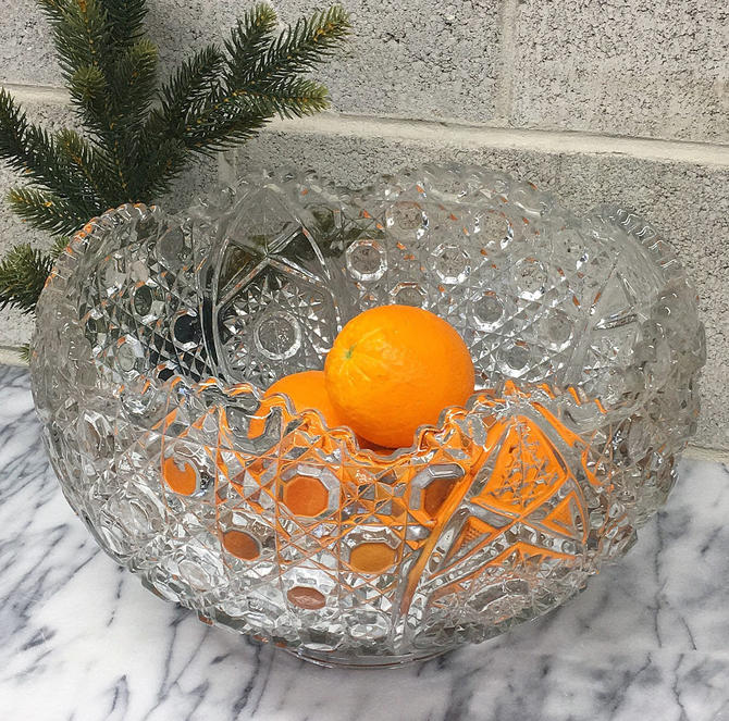 Vintage Punch Bowl Retro 1960s Cut Glass Crystal + XL Size + Heavy + Drink Storage + Party and Serving Accessory + Kitchen and Bar Decor by RetrospectVintage215