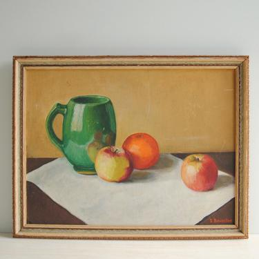 Vintage Oil Still Life Painting of a Pitcher and Apples, Framed Fruit Painting, Signed Original Art by LittleDogVintage