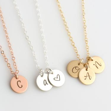 Personalized Initial Necklace/Gold Initial Mom Necklace/Children Initial Necklace/Rose Gold Mothers Necklace/Gold Silver Rose Gold Initial/2 by LEILAjewelryshop